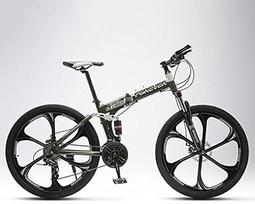 Bicicleta de montaña plegable para hombres y mujeres, para alumnos de media escuela, off-road, amortiguador doble, rueda de cuchillas Six, verde militar, 27 velocidades, 26 pulgadas