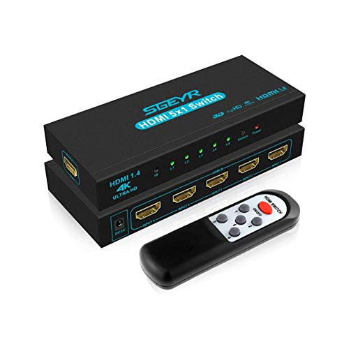 HDMI Switch SGEYR HDMI Switcher 4K 30Hz Conmutador HDMI 5 en 1 out Soporta 4K 30Hz 2K UHD HDCR 1.4 3D 1080P para PS4 Xbox HDTV DVD