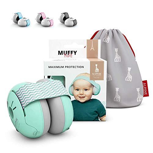 Alpine Muffy Baby Kapselgehörschützer - Gehörschutz für Babys und Kleinkinder von 12 bis 36 Monate - Lärmschutz Verhindert Gehörschäden - Verbessert den Schlaf unterwegs – Sophie La Girafe
