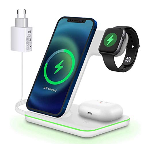 Cargador inalámbrico rápido de 15 W (adaptadores QC 3.0) Qi, estación de carga inductiva rápida 3 en 1 para Apple Watch 6/5/4/3, iPhone 12/12 Pro/11/X/SE/8 y Airpods 2/Pro.