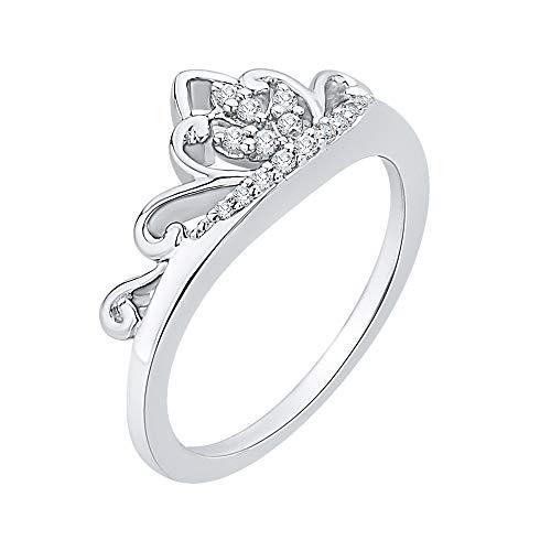 KATARINA Anillo de corona de diamante en plata de ley (1/10 quilates, J-K, SI2-I1)