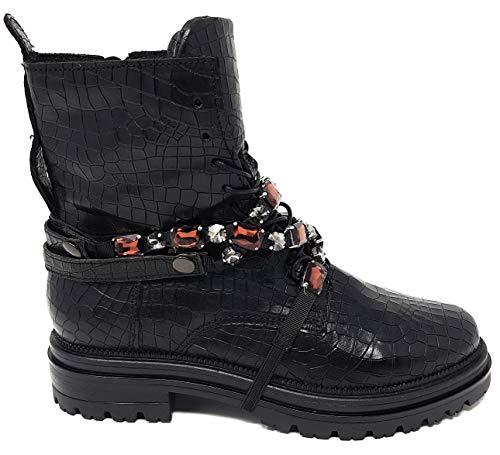 Mjus | 158261 | Damen | Combat Boot Stiefelette | Strass Band abnehmbar, Leder, Nero schwarz (40 EU)