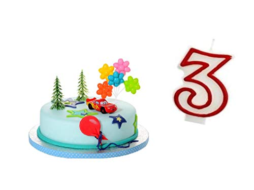 PDL Torten Deko Set 3.Geburtstag Cars Auto 5 teilig Junge Kindergeburtstag Torten Kerze Kuchendeko Tortenfigur Tortendeko