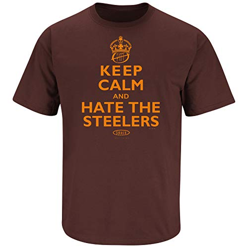 Cleveland Football Fans. Keep Calm and Hate The Steelers Brown T-Shirt (S-5X) (Short Sleeve, Small)