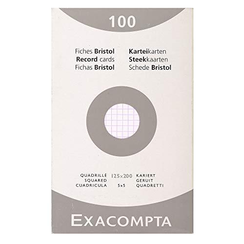 Exacompta 13203E Etui refermable de 100 fiches bristol 12,5 x 20 cm quadrillée 5 x 5 non perforées Blanche.