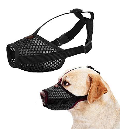 Nylon Dog Muzzle - Anti-Biting Barking Secure Fit Dog Muzzle - Mesh Breathable Dog Mouth Cover for Small Medium Large Dogs (Large, Black)