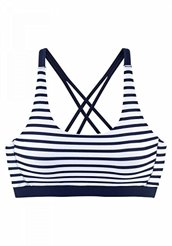 LASCANA Venice Beach Bustier-Top White-Navy-s - 38
