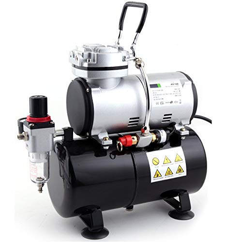 Timbertech Airbrush Compressor, High-Performance Single-Piston Oil-Free Mini Compressor AS186 with 3L Tank, Regulator, Moisture Trap for Hobby, Cake Decoration, Body Tattoo, Graphic and so on