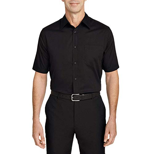 Camisa Social Masculina Bom Pano Manga Curta Lisa Preta