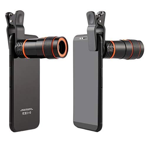 Telescopio monocular de Gran Aumento portátil y Mini Lente de Enfoque Largo Universal para cámaras Digitales y teléfonos móviles, Negro
