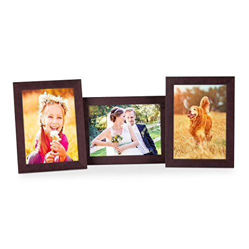 Set van 3 fotolijsten 10x15 cm noten modern massief houten frame met glazen ruit en accessoires | Fotolijst