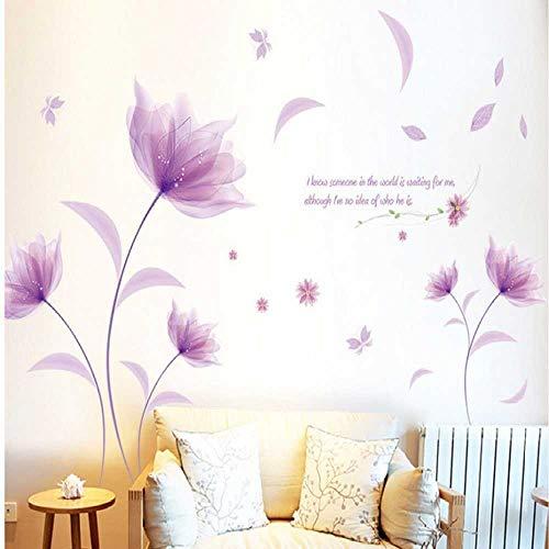 DINGDONG ART Adhesivo De ParedRomántico Elegante Esmerilado Rosa Lirio Flor Pétalo Extraíble Dormitorio Sala De Estar Hogar DIY 90 * 60 Cm