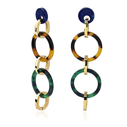 Anartxy Tortuga Pendientes Largos de Eslabones Circulares con Textura Tipo Carey Para Mujer de Resina y Acero Colores Combinados, Mejor Regalo