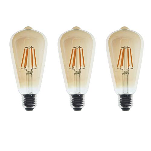 Bombillas LED Edison 6W, Filamento Vintage, Equivalente Halógeno 60W, Vidrio Ámbar, Modelo ST64, estilo jaula de ardilla, Casquillo E27, 2700K Blanco Cálido, 600LM, No Regulable, Paquete de 3