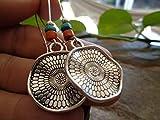 ✿ PENDIENTES DE POCAHONTA ETHNO MANDALA DE MADERA ✿ naranja - pendientes de gancho largos color turquesa - regalo único - hecho a mano -