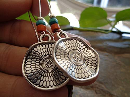 PENDIENTES DE POCAHONTA ETHNO MANDALA DE MADERA  naranja - pendientes de gancho largos color turquesa - regalo único - hecho a mano -