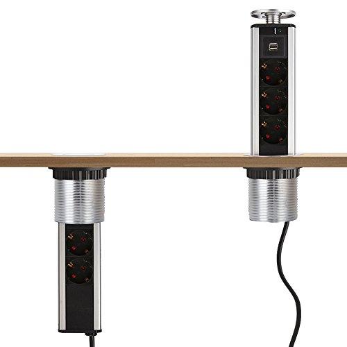 Dazone®: regleta con 2 puertos USB 5 V, CC 1 A (2 x 0, 5 A) y 3 enchufes 250 V, CA 16 A (4000 W máx.), normativa europea, gris 4000.00W, 250.00V