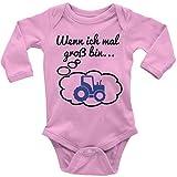 Mikalino Babybody mit Spruch für Jungen Mädchen Unisex Langarm Wenn ich mal groß Bin. Traktor | handbedruckt in Deutschland | Handmade with Love, Farbe:rosa, Grösse:68