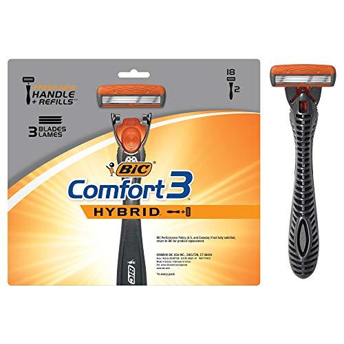 BIC Comfort 3 Hybrid Men's 3-Blade Disposable Razor, 2 Handles And 18...