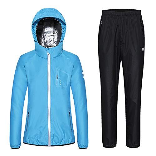HOTSUIT Sauna Suit Women Weight Loss Anti Rip Sweat Suits Workout Jacket Blue M