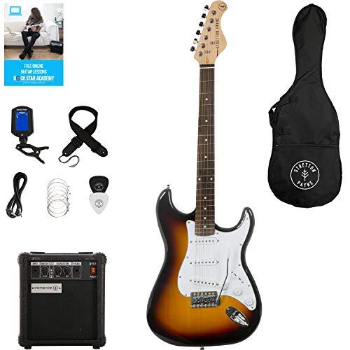 Stretton Payne Paquete de guitarra eléctrica ST con amplificador de práctica, bolsa acolchada, correa, plomo, púa, afinador, cuerdas de repuesto.