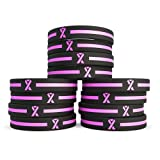 (12-pack) Breast Cancer Pink Awareness Ribbon Silicone Bracelets - Wholesale Pack of 1 Dozen Unisex Wristbands for Men Women - Cancer Survivor Hospital Gifts Party Favors Giveaways Goodie Bag Items