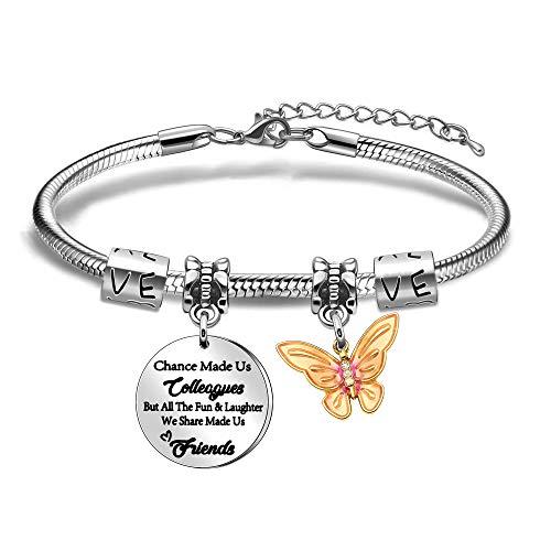 Newnal Coworker - Pulsera de cadena de serpiente para colega, exquisita mariposa colgante divertida risa hecha con amigos y mujeres