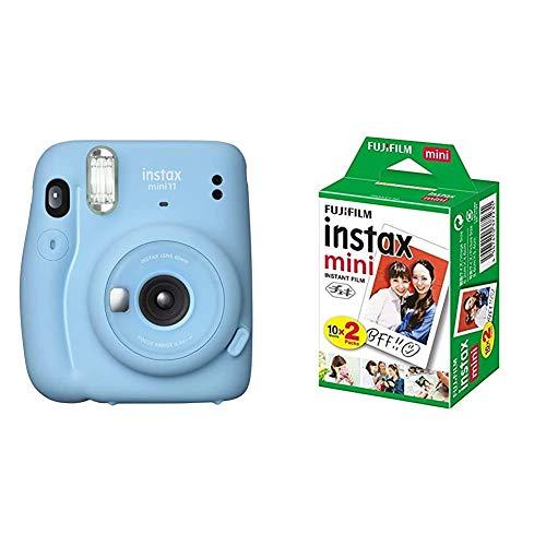 セット買いFUJIFILM インスタントカメラ チェキ instax mini 11 スカイブルー INS MINI 11 BLUE & FUJIFILM インスタントカメラ チェキ用フィルム 20枚入 INSTAX MINI JP 2