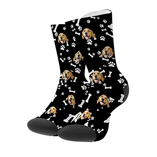 Personalisierte Foto Socken lustige lässige Socken Ich liebe meinen Hund/meine Katze Socken Lange, für Erwachsene Damen Herren Mädchen, Socken mit Foto, besonderes Geschenk für Frauen Männer Freunde