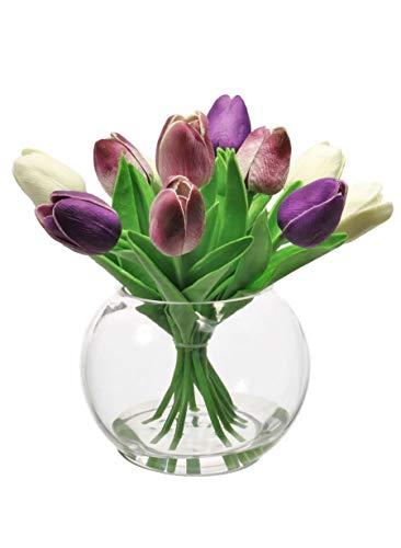Home Decor 4 U - Tulipanes artificiales en jarrón, planta artificial, tulipán artificial, florero con flores, flores de boda,