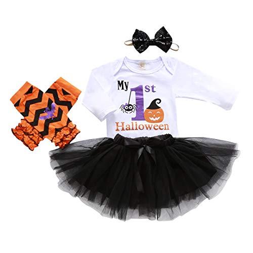 Merqwadd 3PCS Infant Toddler Baby Girl Halloween Outfits Romper+Tutu Skirt+Bowknot Headband+Leg Warmer Trick or Treat Day Outfit (1st Halloween&Pumpkin, 0-6 Months)