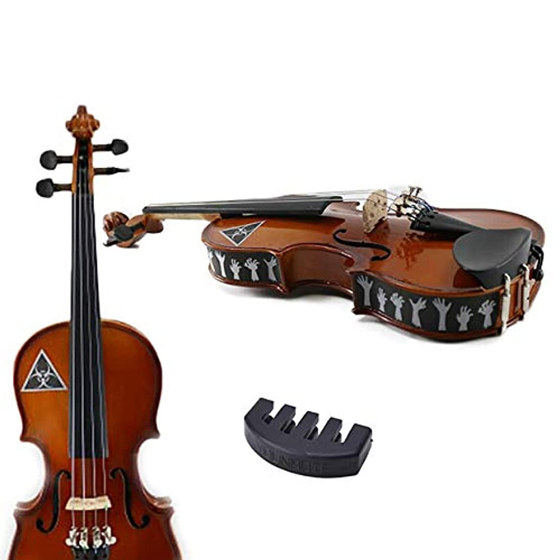 1/4 Size Violin Practice Mute with/Zombie Violin Skins - Removable Violin Decals - Fits 1/4 Size Violins (Violin not included)