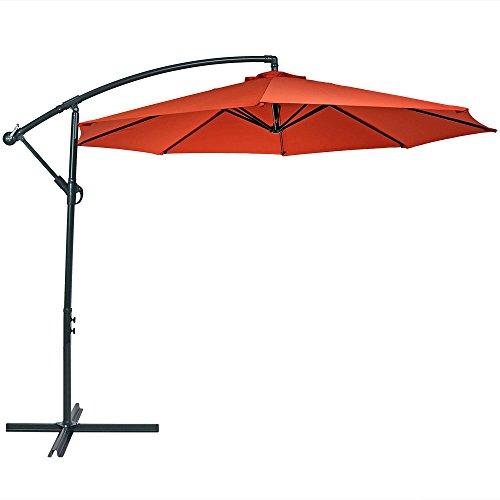 Sunnydaze Steel 10-Foot Outdoor Offset Patio Umbrella with Cantilever, Crank, and Cross Base, 8 Steel Ribs, Burnt Orange
