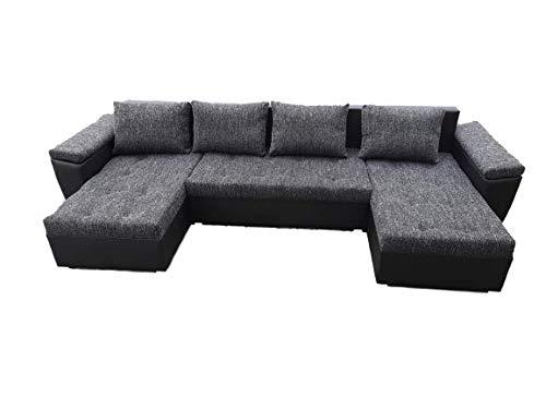 PM Ecksofa Schlaffunktion Bettfunktion Couch U-Form Polstergarnitur Wohnlandschaft Polstersofa mit Ottomane Couchgranitur - NICO-U (Schwarz + Schwarzes...