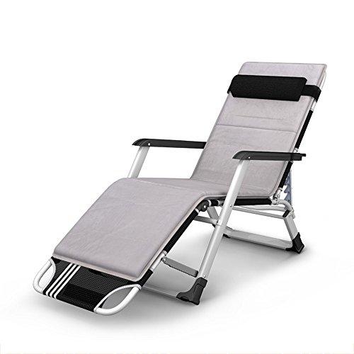 Feifei Paresseux Chaise Bureau Siesta Confortable Respirant Portable Sun Loungers Pliant Fauteuils inclinables (Couleur : Gris)