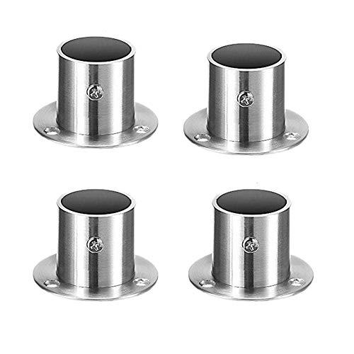 Mdurian Set de 4 Soportes para Barra de Cortina de Acero Inoxid para Armario Redondo Brida Barra Soporte Soporte de Techo Pared para Barra de Ducha con Tornillos (22mm)