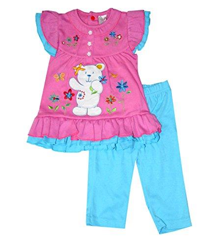 Cutey Couture Enfants Filles Applique Broderie Détail Robe Legging Set âge 6-24 Mois