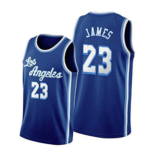 Lebron James Basketball Trikot Herren-Los Angeles Lakers 23#, 90er Jahre Hip Hop Party Mesh Weste-Neue Saison Edition, Sommer im Freien Sport T-Shirt Atmungsaktiv 2XL-Blue-L