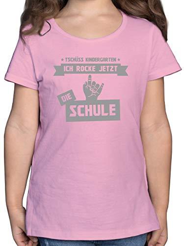 Einschulung und Schulanfang - Tschüss Kindergarten ich Rocke jetzt die Schule - 128 (7/8 Jahre) - Rosa - Tshirt Kinder mädchen sprüche - F131K - Mädchen Kinder T-Shirt