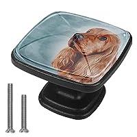 4個のキャビネットノブクリスタルガラスの引き出しハンドルかわいい犬 ドレッサーデスクキッチンドア用