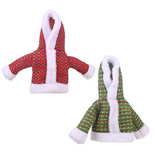 ROOCHL - Set di 2 copribottiglia di vino, maglione di Natale, copertura per bottiglia di vino, fatto a mano, colletto, decorazioni per maglioni, feste di compleanno, decorazioni artigianali