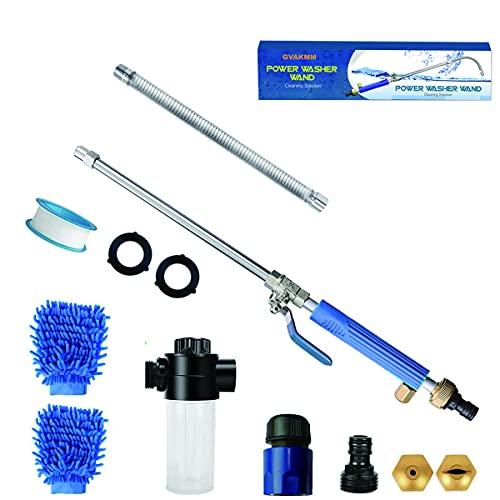 GVAKMM Hydro Jet Alta presión Lavadora Varita, Pistola de espuma de lavado de autos extensible, Lavadora de presión Varita para...