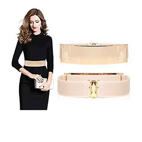 Famhome - Cinturón liso informal de piel con hebilla redondeada para mujer Dorado Bright Belt-beige 90