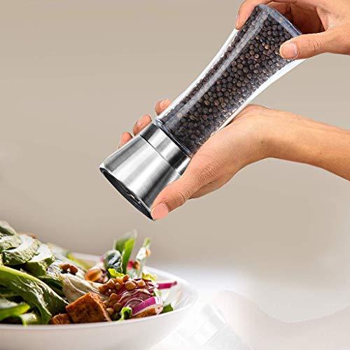 Wffo Molinillo de Sal y Pimienta de Cocina, 6 oz, Acero Inoxidable, fácil de Usar, Incluye Mecanismo de precisión Gourmet y Pimienta de Primera Calidad