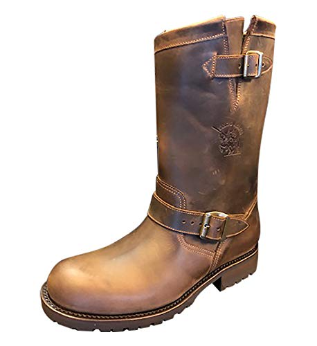 Sancho Boots Cowboydtiefel Westernstiefel Bikerboots Motorradstiefel 5659 Braun mit Profilsohle (Numeric_46)
