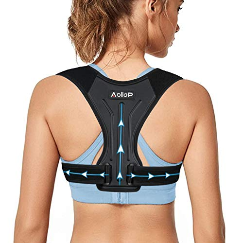 Aollop Posture Corrector for Women and Men, Upgraded Adjustable Back Straightener Posture Corrector, Upper Back Brace for Clavicle Support and Providing Pain Relief from Neck, Back and Shoulder