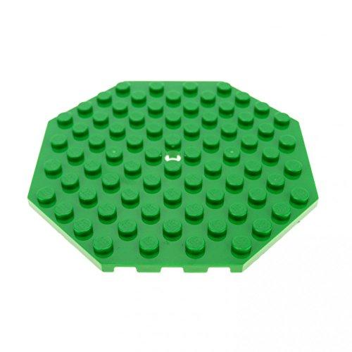 1 x Lego System Bau Platte grün 10 x 10 Achteck Ecke mit Loch Oktagon 70403 10236 76035 7946 89523