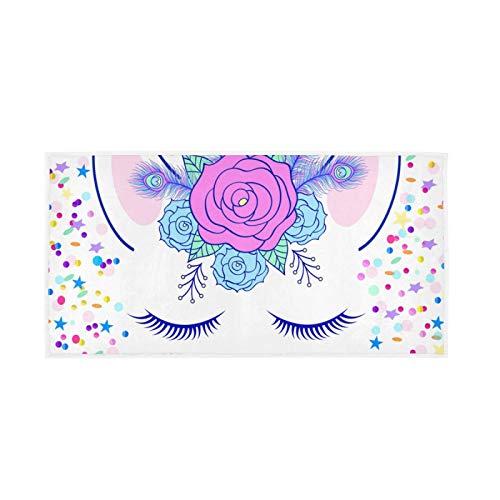 YUELAI Bath Towel 30'x15' Soft Hand Towels for Bathroom Spa Gym Sports Horn Beast Garland Confetti