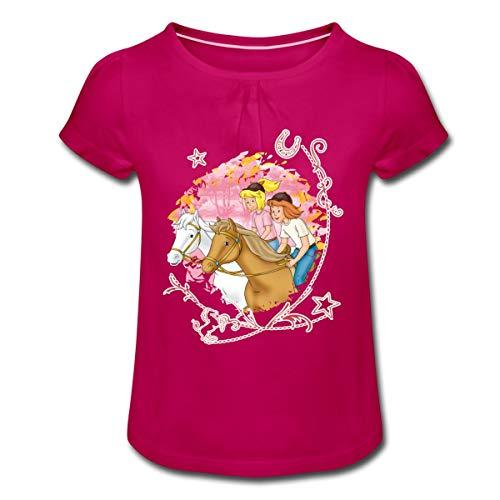 Bibi Und Tina Wettreiten Im Wald Mädchen T-Shirt mit Raffungen, 8 Jahre, Fuchsia