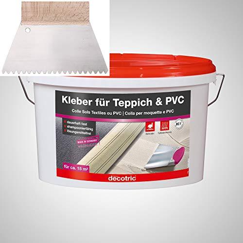 BODENMEISTER PVC Teppich Kleber Dispersionskleber 5kg Kleber, Zahnspachtel Teppichboden und Vinylboden kleben